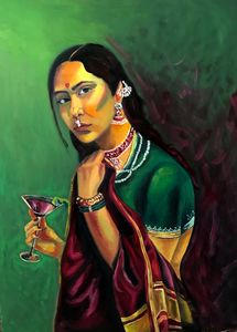 Saree and wine