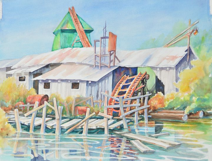 Pulp Mill with Dock - Ruth Stephen's Watercolor