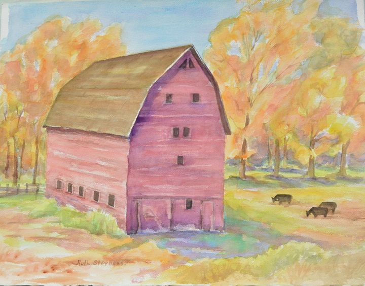 Purple Bar with Cows - Ruth Stephen's Watercolor