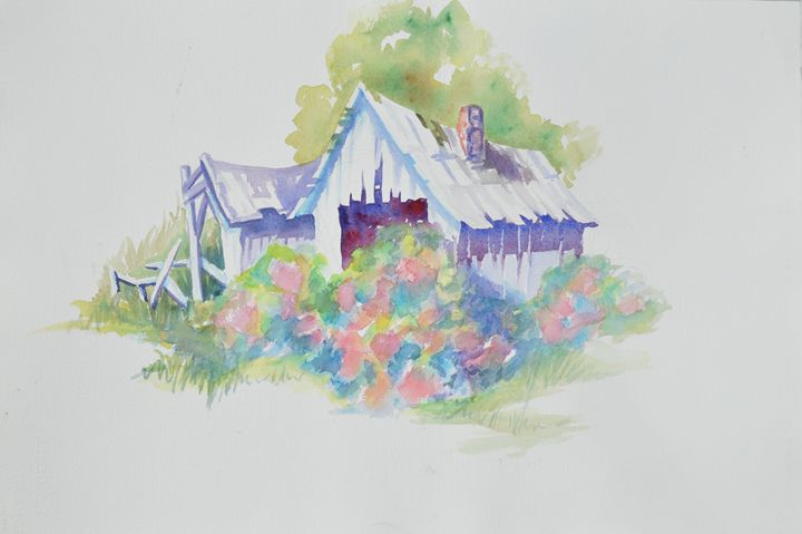 Farm shed with flower bushes - Ruth Stephen's Watercolor