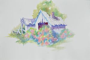 Farm shed with flower bushes