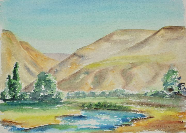 Yakima WA (Gap of Rd. to Ellensburg) - Ruth Stephen's Watercolor