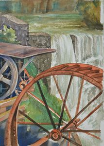 Watermill with waterfall