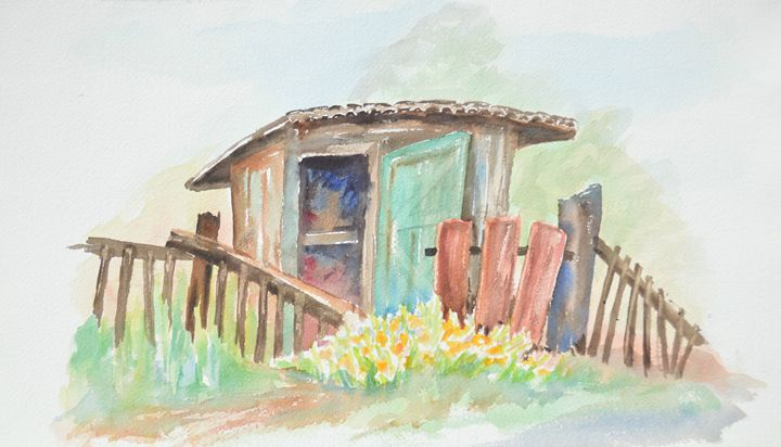 Shed with Deliliahs - Ruth Stephen's Watercolor