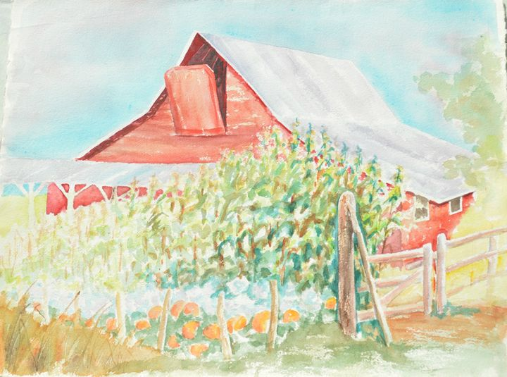 Red Barn and Pumpkin Patch - Ruth Stephen's Watercolor