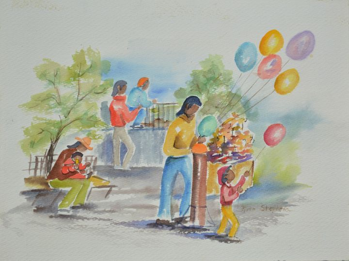 Park with Balloons - Ruth Stephen's Watercolor