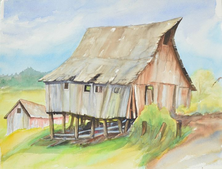Windy Shed on Stilts, Carnation, WA - Ruth Stephen's Watercolor