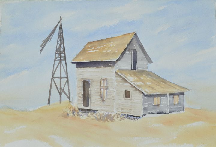Old Farm House with Windmill - Ruth Stephen's Watercolor