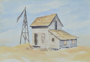 Old Farm House with Windmill