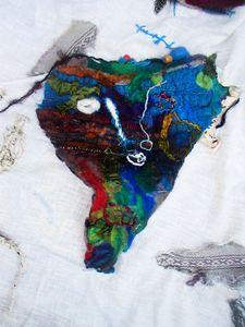 Tribal face textile art contemporary - Karen Colville Nature Art