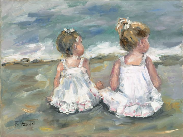 Two Little Girls on the Beach - Joan Roberts