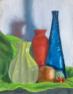 Still Life with Glass Vase and Fruit