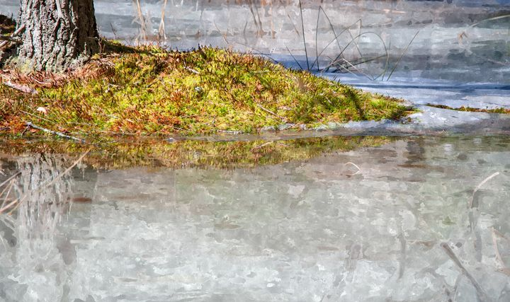 Mossy Island in Blue-Green Ice (WC) - StephenJSepan