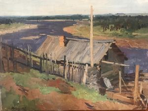 On the Vyatka River Vintage Painting