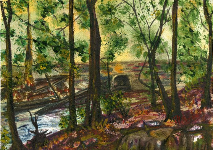 Bridge over the Creek - M. Cordero Watercolor Studio