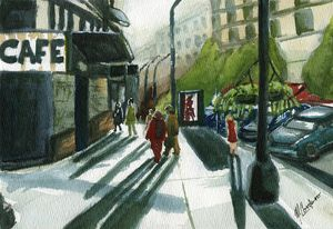 Downtown Walk - M. Cordero Watercolor Studio
