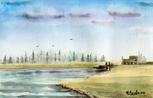 Misty Forest Lake - M. Cordero Watercolor Studio