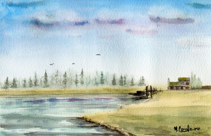 Misty Forest Lake - M. Cordero Watercolor Studio