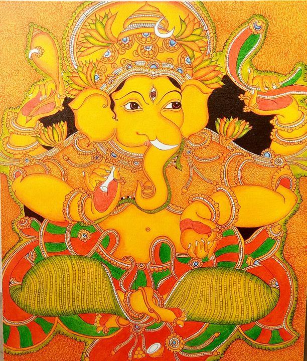Kerala mural painting of Lord Ganesh - Navin's creations