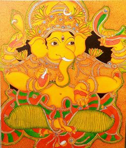 Kerala mural painting of Lord Ganesh