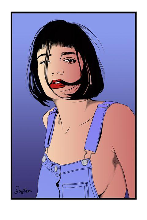 girl in overalls - cadrOmur