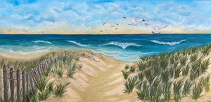 Seagulls on deserted beach