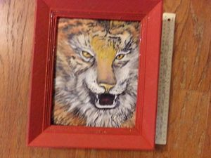 acrylic tiger on canvas (original) - Sandy's painted rocks and things