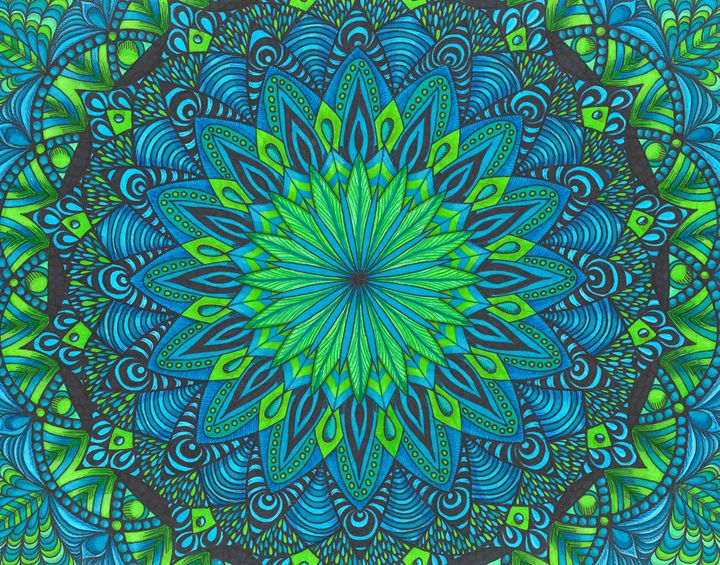 Green & Blue Mandala - My Meditation Art
