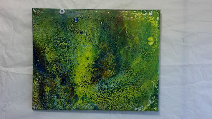 Original Abstract Acrylic Pour 16x20 - two old guys distributing co