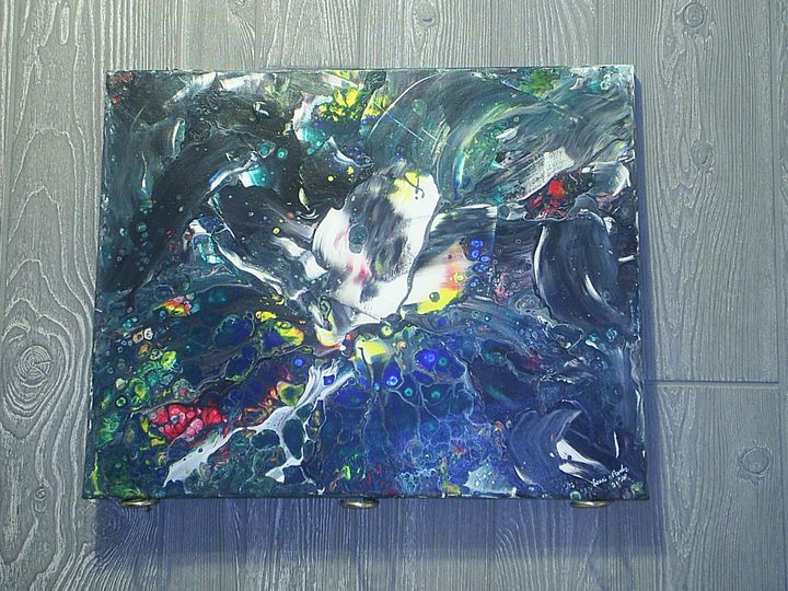 Original Abstract  16x20 - two old guys distributing co