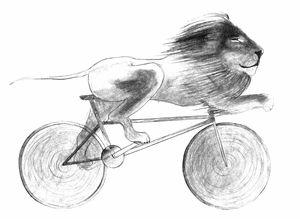 Cyclist Lion