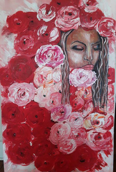 Femme roses - Odalix