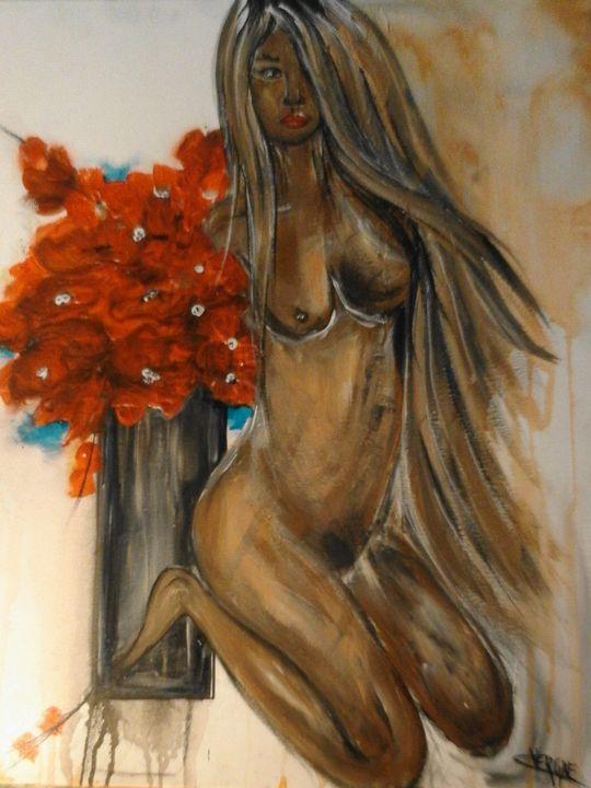 Femme au bouquet - Odalix