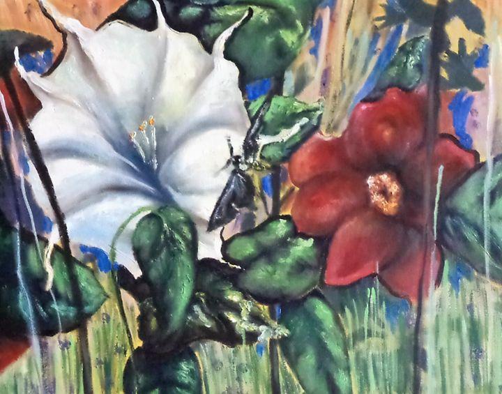 Flowers and hornet original art - Tara Stephanos Originals