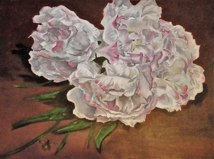 peonies and bee floral still life - Tara Stephanos Originals