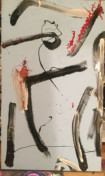 Kokopelli abstract by Sparrowhawk - Actor Sparrowhawk Art