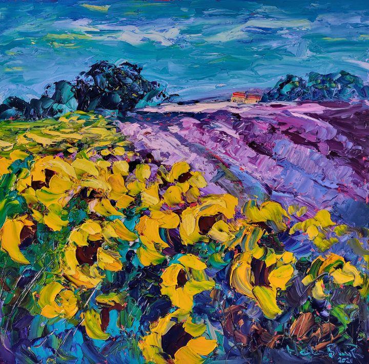 Sunflower's and Lavender - Helen Blair