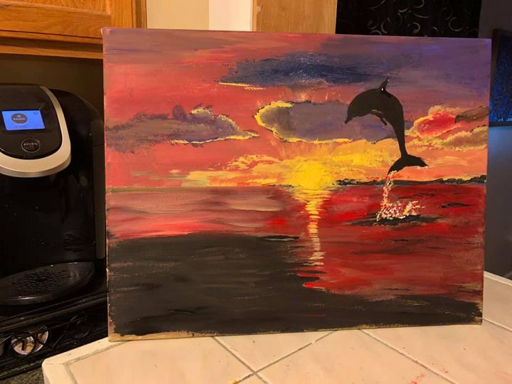 Dolphin in Sunset - Ron's paintings