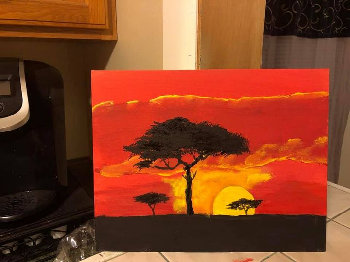 African sunset - Ron's paintings