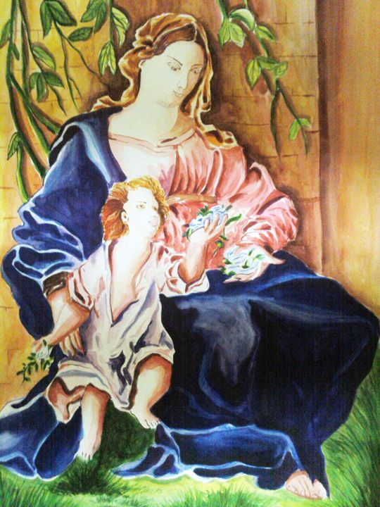 """""""Holy mary mother of Jesus"""" - AKHIL JOHNY THAYANKERY PAINTINGS"""