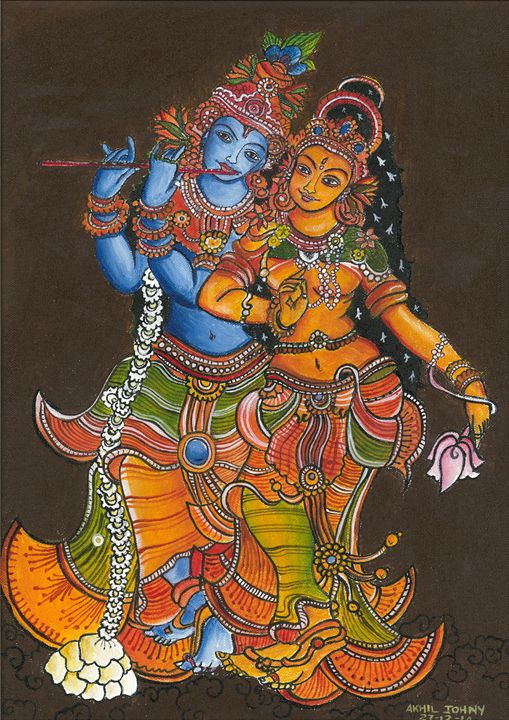 krishnan and radha - AKHIL JOHNY THAYANKERY PAINTINGS