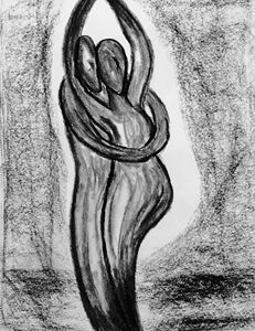 Pregnant embrace.