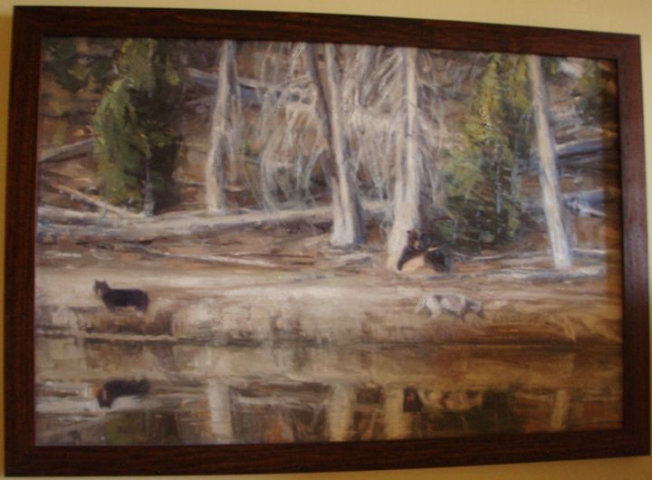 Grizzly Bear and Wolves - Montana Wildlife Art