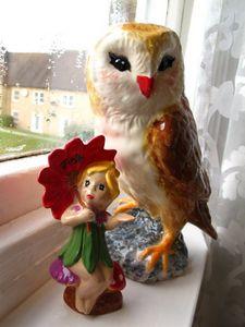 Ms. Pretty Owl: Paining on ceramic - Oriental Spirits by Fameshaman