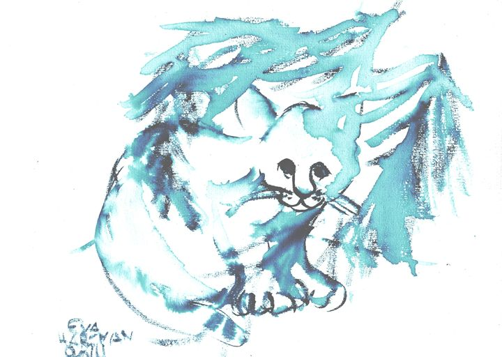 Cat - Eva Hartman's Drawings and Paintings