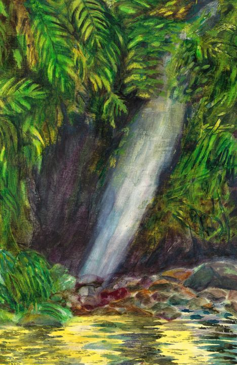 """""""Jungle Waterfall, Amazon"""" - Hally DeCarion's Paintings"""