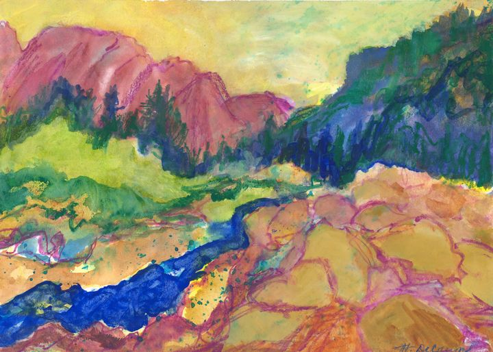"""""""Stream, Boulders, and Mountains"""" - Hally DeCarion's Paintings"""