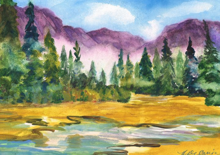 """""""Morning Fog in Yosemite Valley"""" - Hally DeCarion's Paintings"""