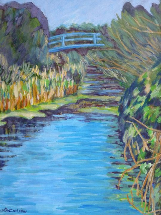 Santa Rosa Creek with Blue Bridge - Hally DeCarion's Paintings