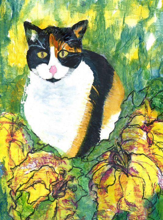 """Mr Calico in the Hedges"" - Hally DeCarion's Paintings"